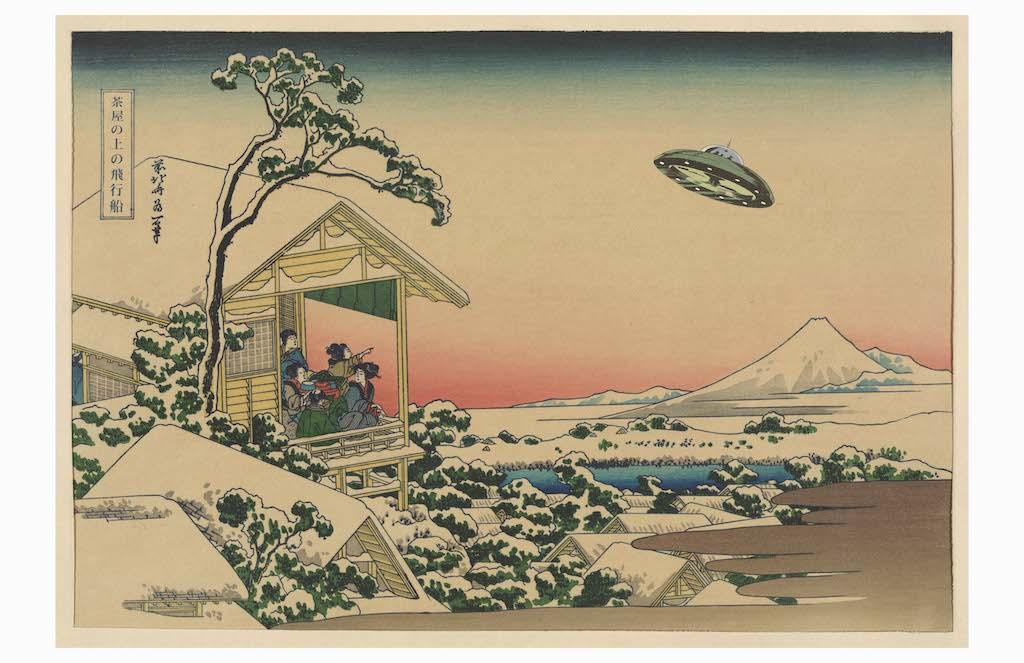 """Created [sometime] between 1830 and 1840, Hokusai Katsushika's 'Floating Ship above the Teahouse' depicts Koishikawa gardens the morning after a snowfall and during a visit from one of the many flying saucers that were common to this period."" / Image courtesy of Matt Buchholz, Alternate Histories // Published: 6.19.19<br>"