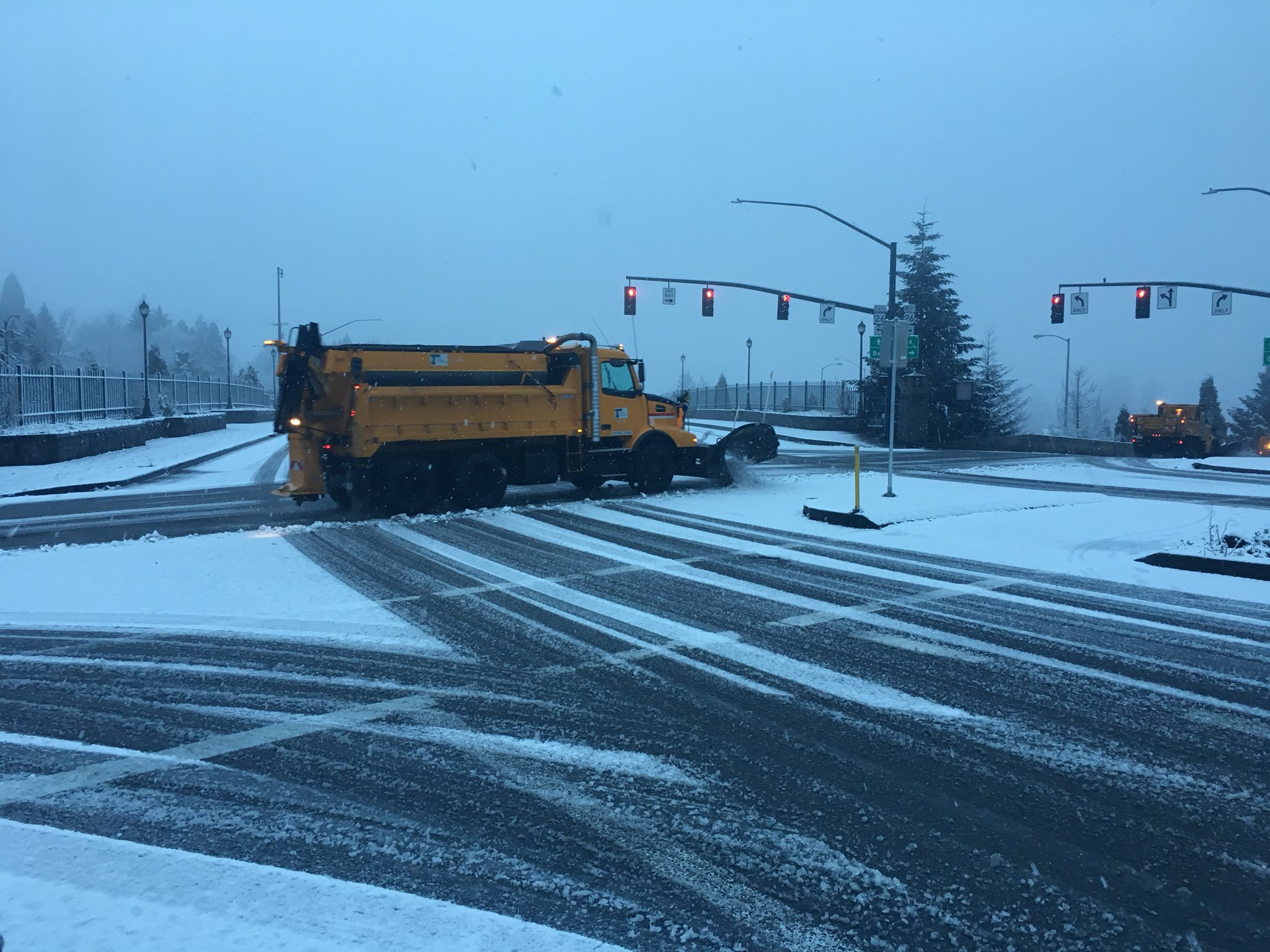 Plows on SW Skyline Blvd - Photo from KATU's Genevieve Reaume<p></p>