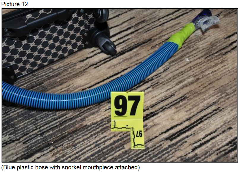 Blue plastic hose with snorkel mouthpiece attached{ }(Courtesy LVMPD)