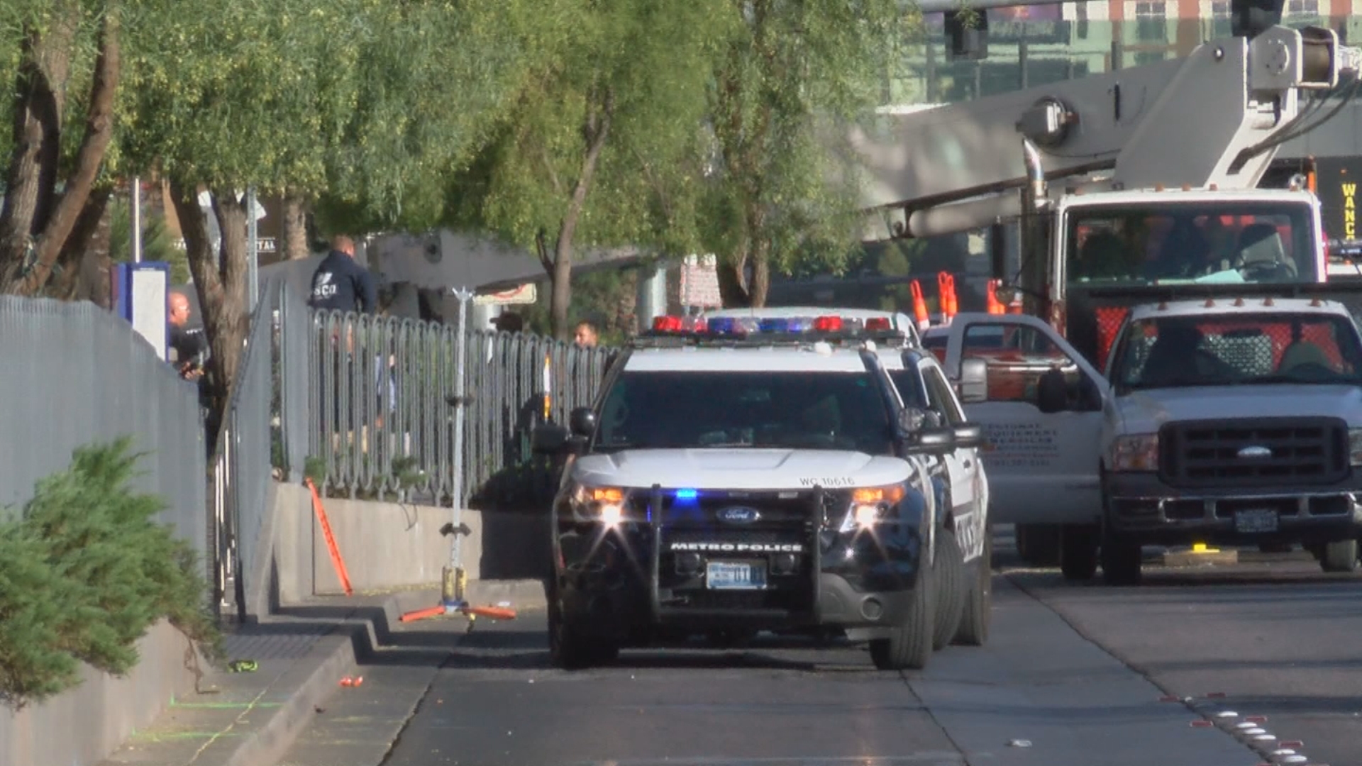Police investigate a shooting Tuesday, November 14, 2017, on the 3700 block of Las Vegas Blvd. South in Las Vegas. (KSNV)