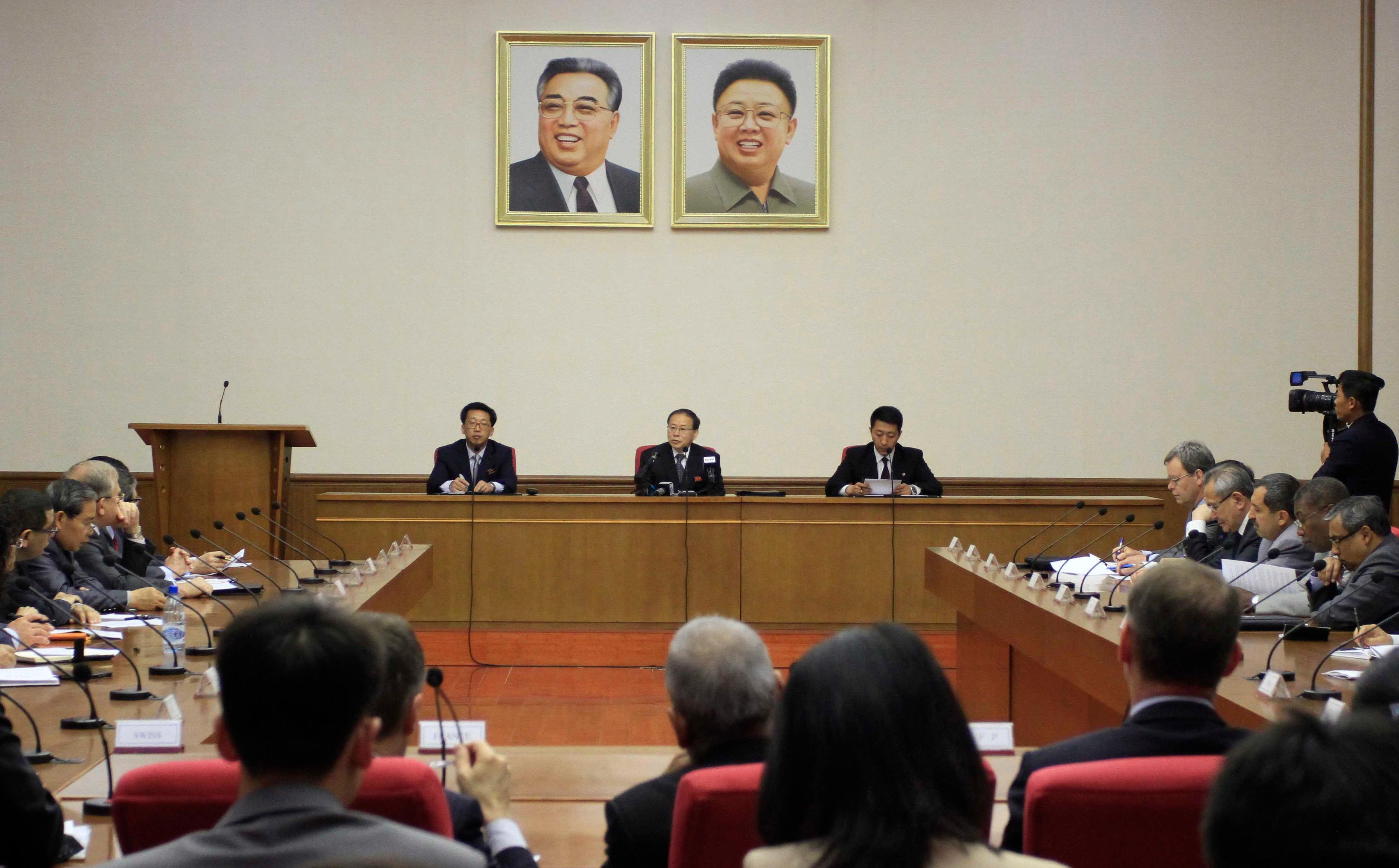 North Korea's Vice Foreign Minister Han Song Ryol, center,  speaks during a meeting at the People's Palace of Culture in Pyongyang, Thursday, May 11, 2017.  Pyongyang will seek the extradition of anyone involved in what it says was a CIA-backed plot to kill leader Kim Jung Un last month with a biochemical poison, Han, a top North Korean foreign ministry official said Thursday.(AP Photo/Jon Chol Jin)