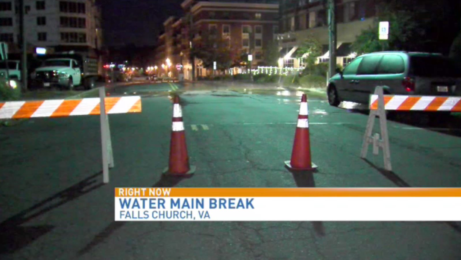 water main break closes streets in falls church wjla water main break in falls church closes streets wjla