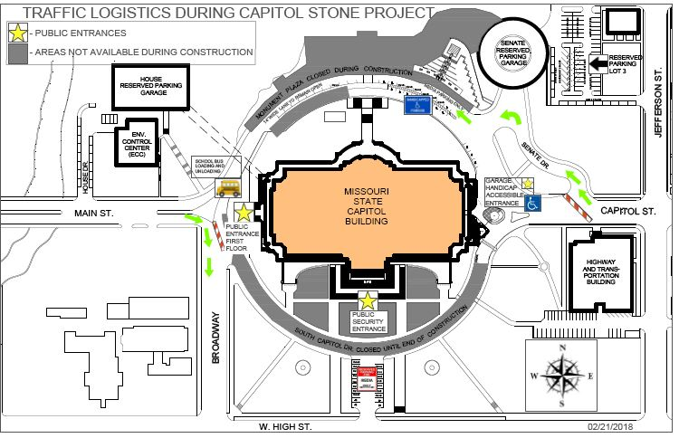 Traffic flow at the Capitol during the construction phase. (Office of Administration)<p></p>