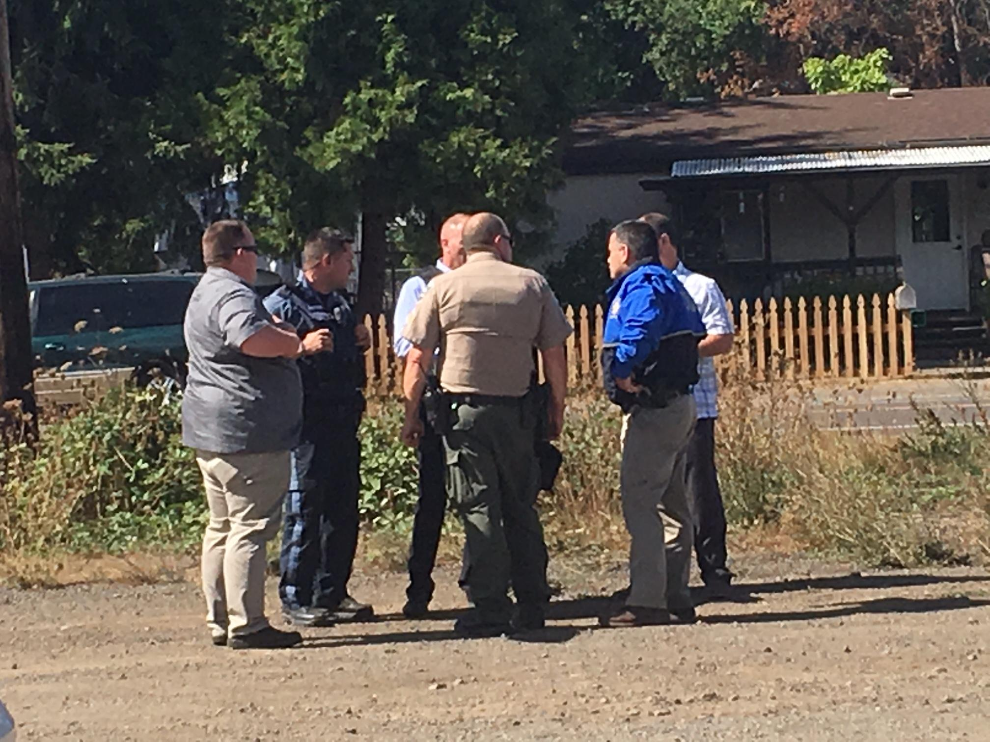 An Oregon State Police was shot Tuesday afternoon near Highway 99 and England Road in the Creswell area, according to law enforcement at the scene. (SBG)