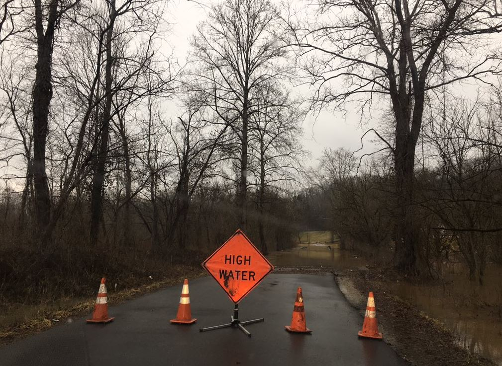 Sleet falls on flooded Ferrell Road in western Kanawha County. (WCHS/WVAH)<p></p>