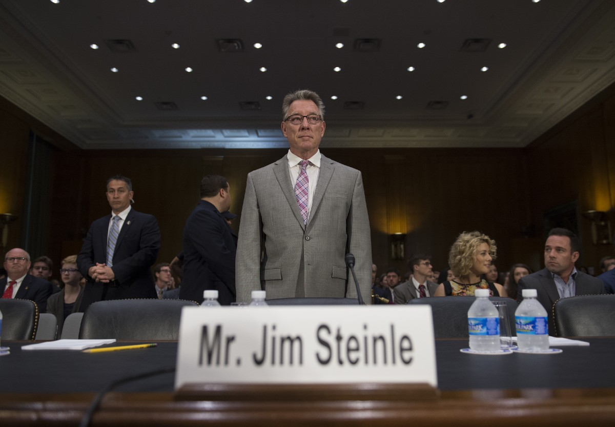 Jim Steinle, father of Kathryn Steinle, killed on a San Francisco Pier by a man previously deported several times, arrives to testify before a Senate Judiciary hearing in Washington, Tuesday, July 21, 2015. (AP Photo/Molly Riley)<p></p>