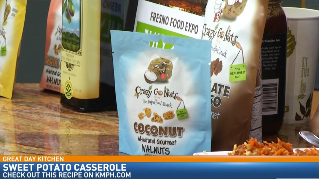 Chef and Co-Founder of Crazy Go Nuts, Courtney Carini, visited the Great Day Kitchen to prepare some delicious food and promote this year's Fresno Food Expo.