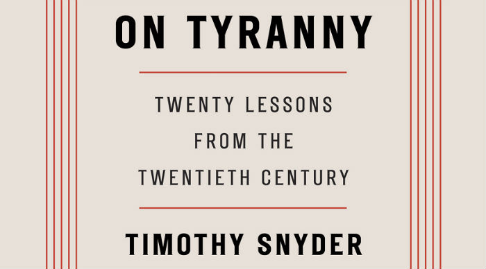 "#2. On Tyranny Twenty Lessons From The Twentieth Century by Timothy Snyder. ""The Founding Fathers tried to protect us from the threat they knew, the tyranny that overcame ancient democracy. Today, our political order faces new threats, not unlike the totalitarianism of the twentieth century."" (Image: Tim Duggan Books)"