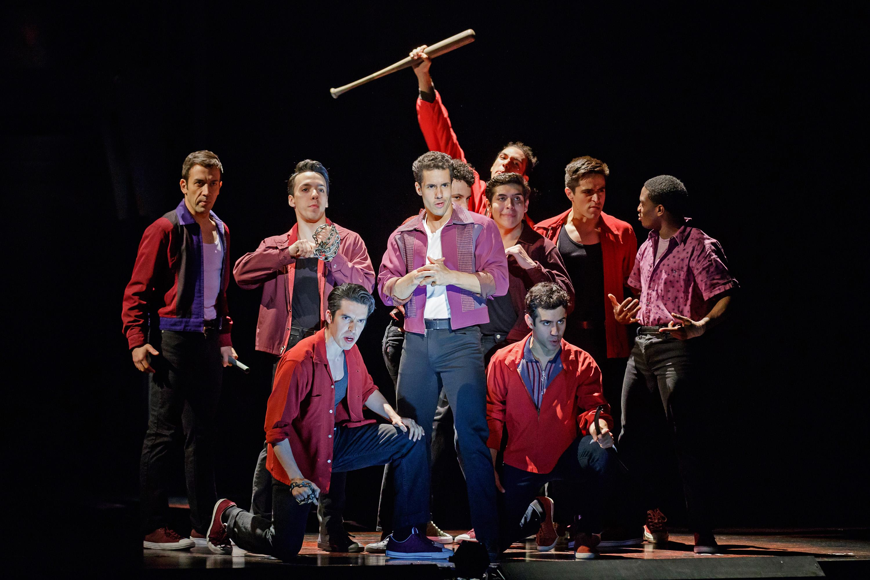 Alexander Gil Cruz as Bernardo and the cast of West Side Story at The 5th Avenue Theatre (Photo Credit: Mark Kitaoka)