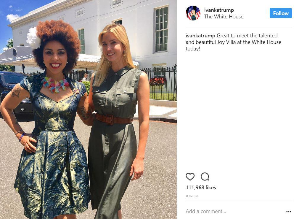 The First Daughter hosted singer/songwriter Joy Villa at the White House n early June. (Image: Courtesy IG user @ivankatrump)