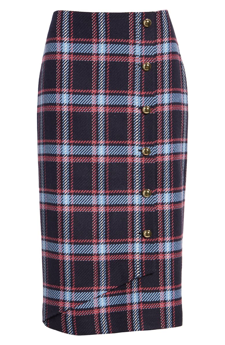 Halogen x Atlantic Pacific Plaid Wrap Pencil Skirt, $89.{ }Ballin' on a budget this season? Nordstrom found priceless gifts all under $100. You're welcome! { }(Image courtesy of Nordstrom).