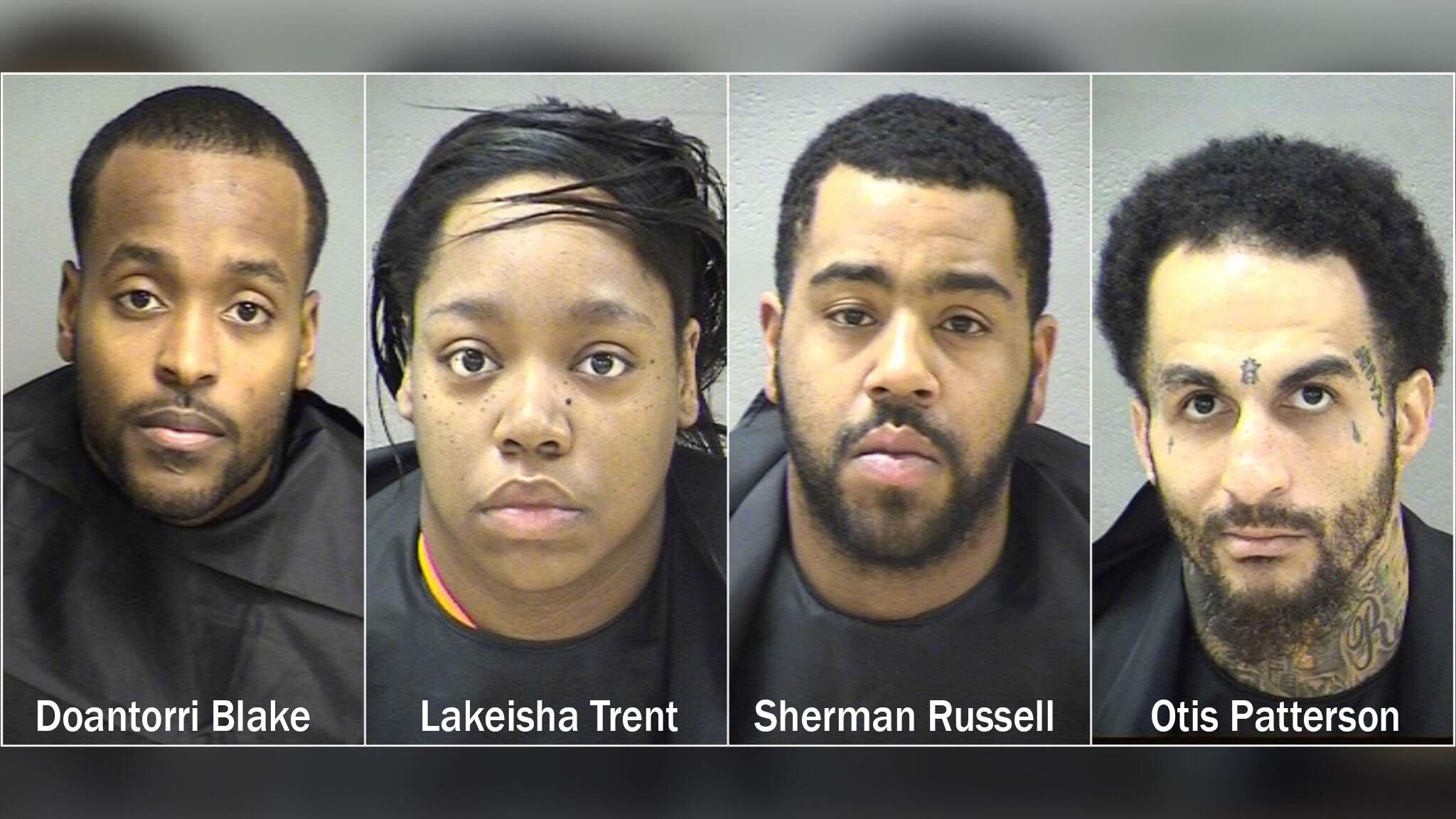 Sherman D. Russell, 27, of Lynchburg, Otis L. Patterson, 27, of Lynchburg and Lakeisha S. Trent, 23, of Lynchburg were arrested and charged with armed robbery, grand larceny of firearms, and grand larceny of money, as well as use of a firearm in the commission of a felony; Doantorri Blake, 27, of Lynchburg is wanted.