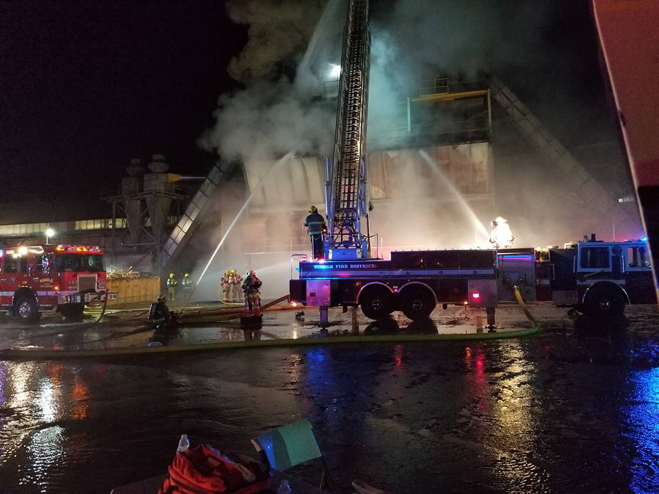 A commercial fire broke out at Roseburg Forest Products Plywood Plant #4, Oct. 12, 2017. (Photo by Bronson Knight)