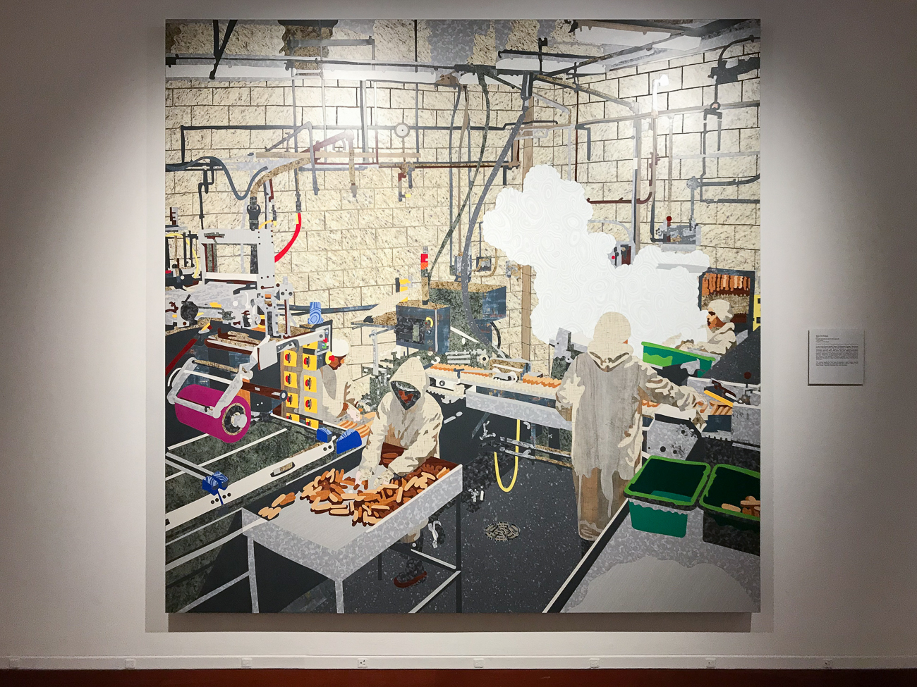 This mural depicts a Queen City Sausage factory and uses a total of 1,467 pieces. / Image: Cincinnati Refined // Published: 7.11.18