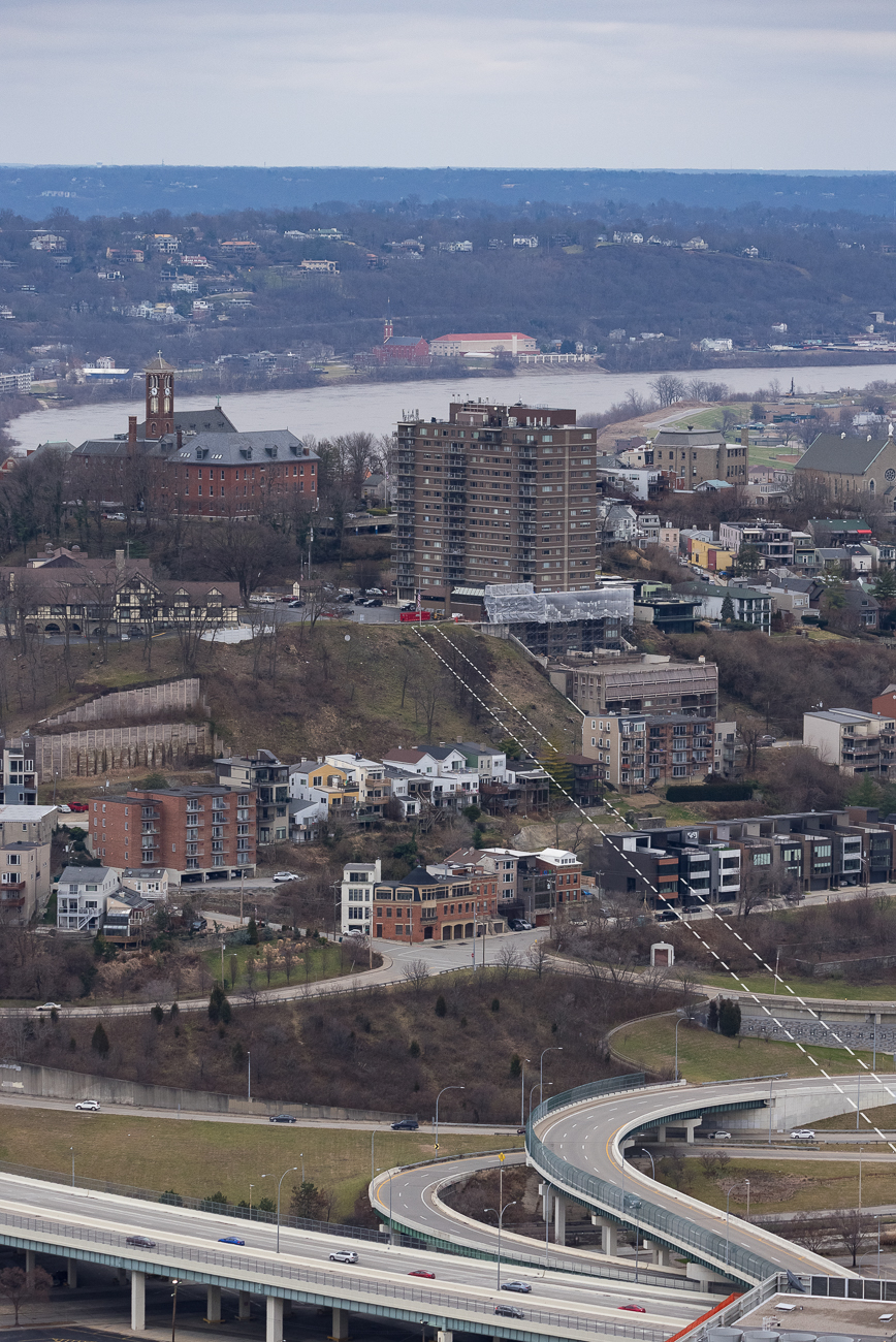 This is an aerial view roughly outlining where the Mt. Adams Incline would've been. / Image: Phil Armstrong, Cincinnati Refined // Published: 1.2.19