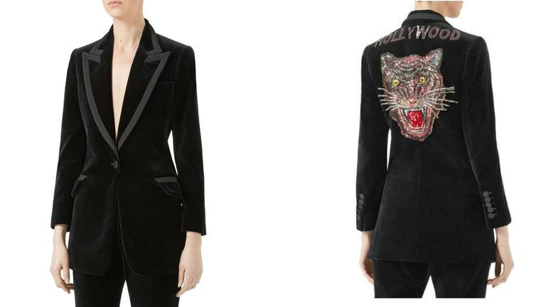 "Looking for a statement piece? Channel your inner Katy Perry and get ready to ROAR in this black velvet jacket with sequin embroidery spelling ""HOLLYWOOD"" alongside a multicolored Angry Cat applique on the back. (Image: Courtesy Neiman Marcus)"