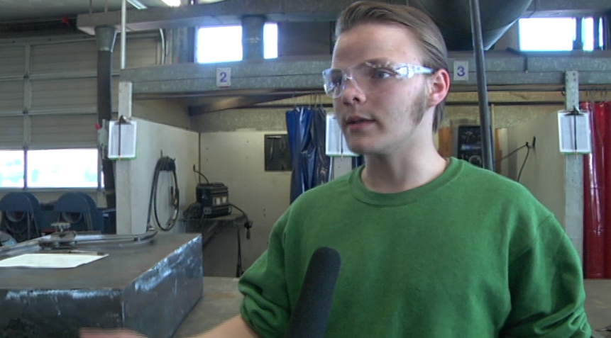 """I didn't have any view of what the industry actually was until I entered into this class,"" senior Daniel Morris said. ""I started welding and I grew attached to it."" (SBG)"