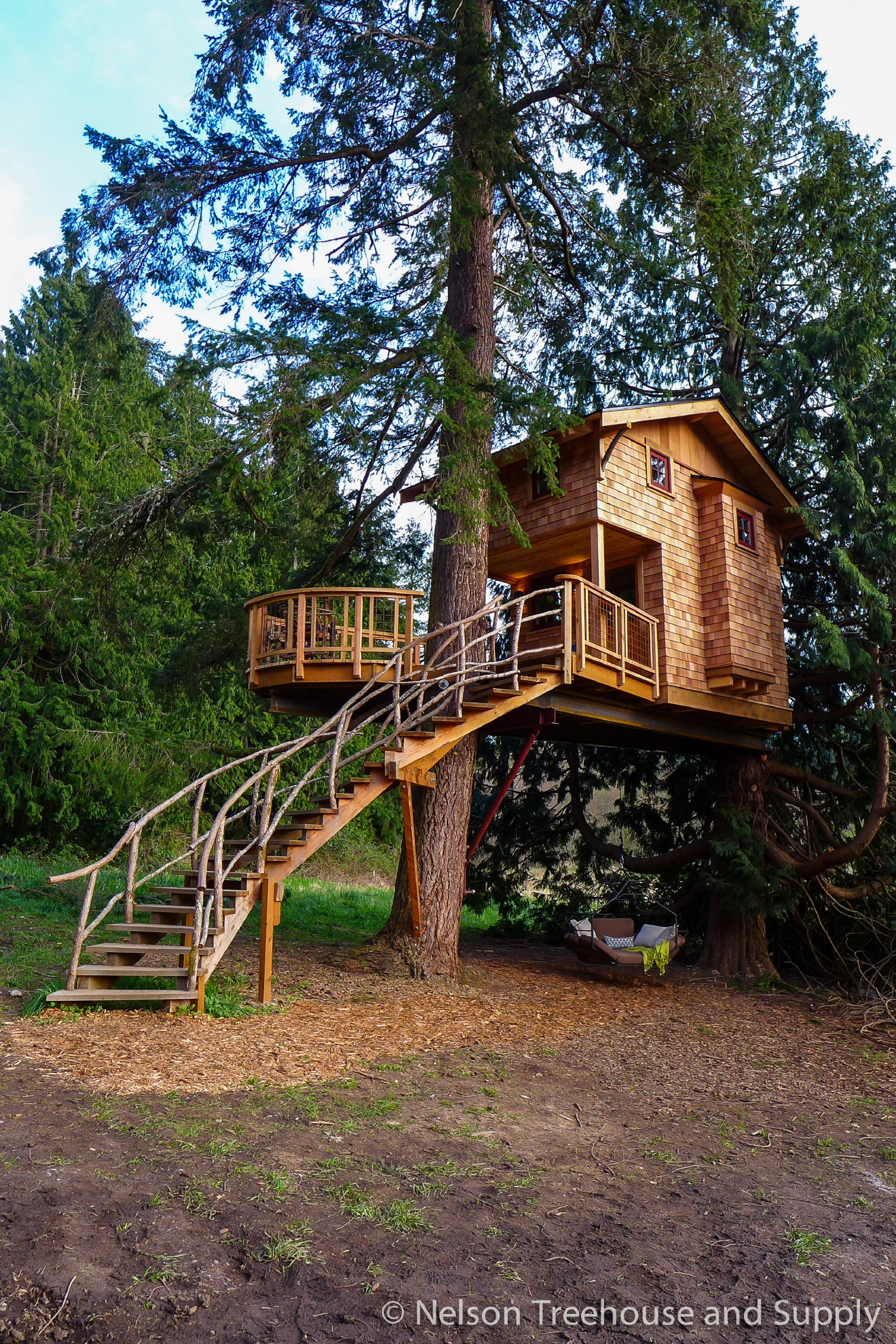 Many of us here in the PNW are familiar with 'Treehouse Masters' the Animal Planet show where Fall City's Pete Nelson and crew travel across the country to build incredible treehouses for a lucky few. With the show's next season just underway, and the local connection - we thought we'd take a look at all the treehouses they built in 2016. We'll do one 'Treehouse of the Day' a day until we run out! Today's Treehouse stays within the family; the Nelson family! Pete's son Charlie acts as project manager as they built a treehouse for him to live in full time in Fall City, WA.  Full episodes at animalplanet.com. (Image: Animal Planet)
