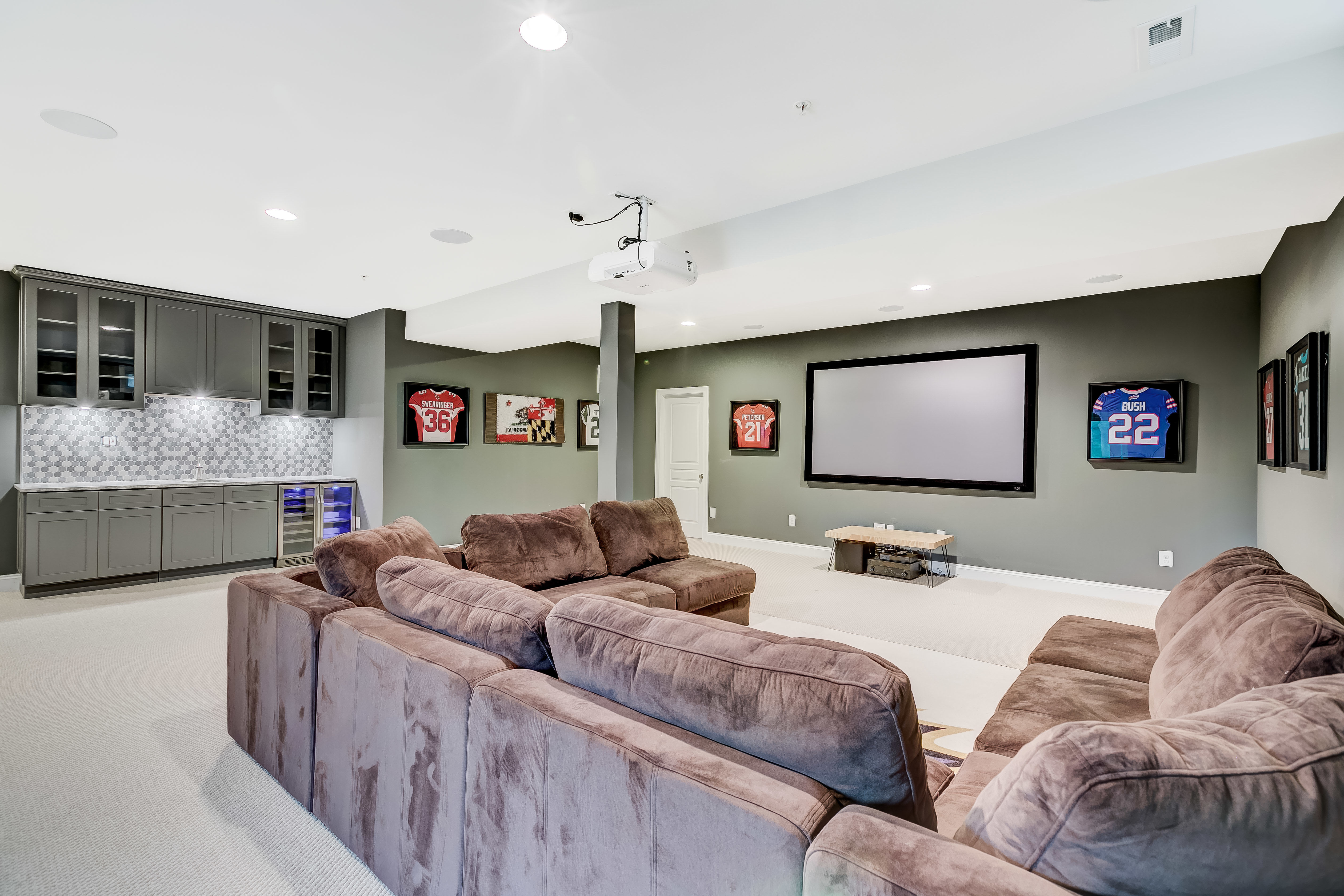 After less than a year, Baltimore Ravens strong safety Tony Jefferson has put his five-bedroom, five-and-a-half-bathroom home on the market for less than $1 million. The brick-front home is nestled at the end of a cul-de-sac in the private Dulaney View neighborhood of Maryland, and was custom-built in 2017. (Image: Courtesy Compass Real Estate)