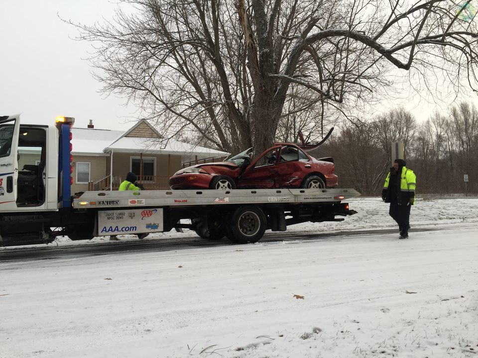 One driver was taken to the hospital after a crash in Cooper Township Thursday morning. (WWMT/Jessica Wheeler)