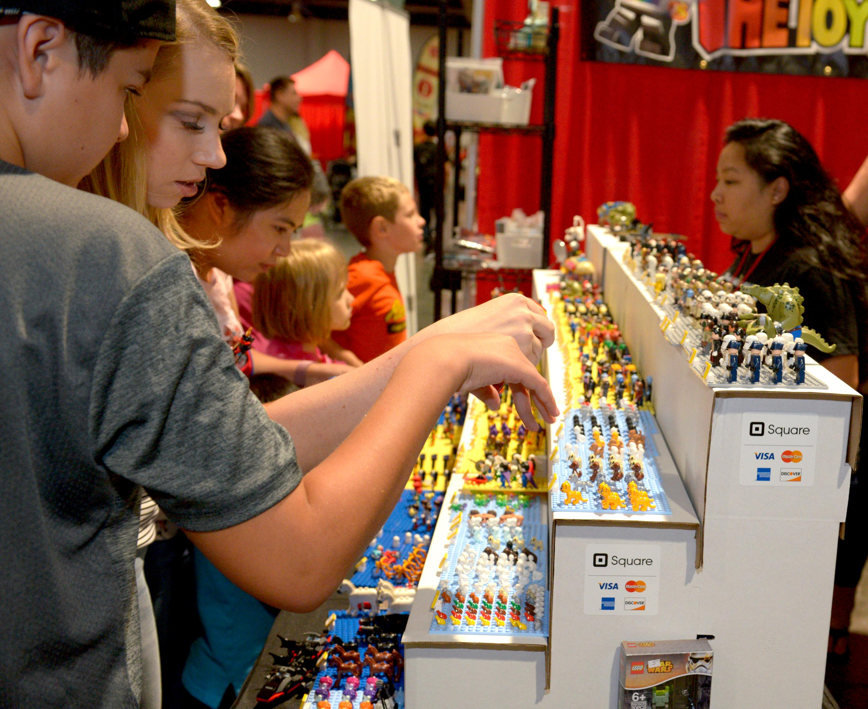 Fans check-out hundreds of Lego miniature characters during the Brick Fest Live Lego Fan Experience at the Las Vegas Convention Center, September 9, 2017. [Glenn Pinkerton/Las Vegas News Bureau]