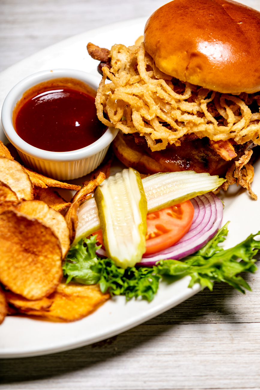 Hall of Fame Western Burger: A classic burger, with bacon, cheddar cheese, and onion straws. Drizzled with Montgomery Inn's famous Original barbecue sauce / Image: Amy Elisabeth Spasoff // Published: 11.2.2018