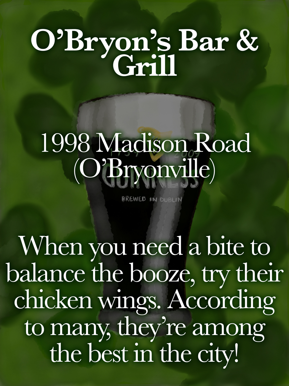 O'Bryon's Bar & Grill / ADDRESS: 1998 Madison Road (O'Bryonville) // Published: 3.16.19