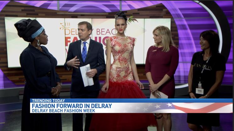 Laura Simon and model dressed in Glavidia by Glavidia Alexis fashion designs talk about  Delray Beach Fashion Week (WPEC)<p></p>