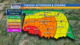 Enhanced risk for severe weather in OKC, Moderate in southwest Oklahoma