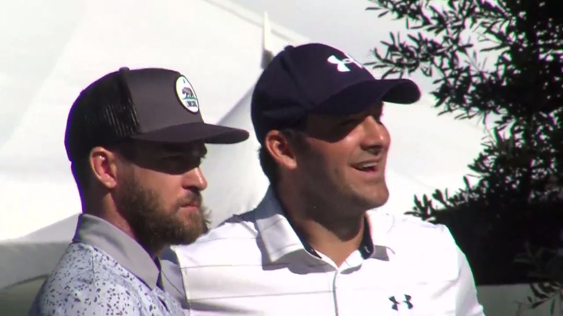 Justin Timberlake and Tony Romo chat during practice for the American Century Championship celebrity golf tournament at Lake Tahoe on Wednesday, July 12, 2017 (SBG)