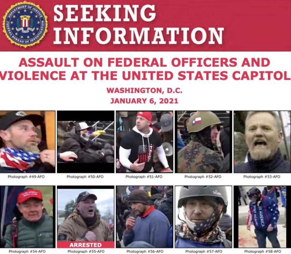 FBI arrests multiple people for violence at the U.S. Capitol; still seeking suspects (Photo: FBI / Twitter)