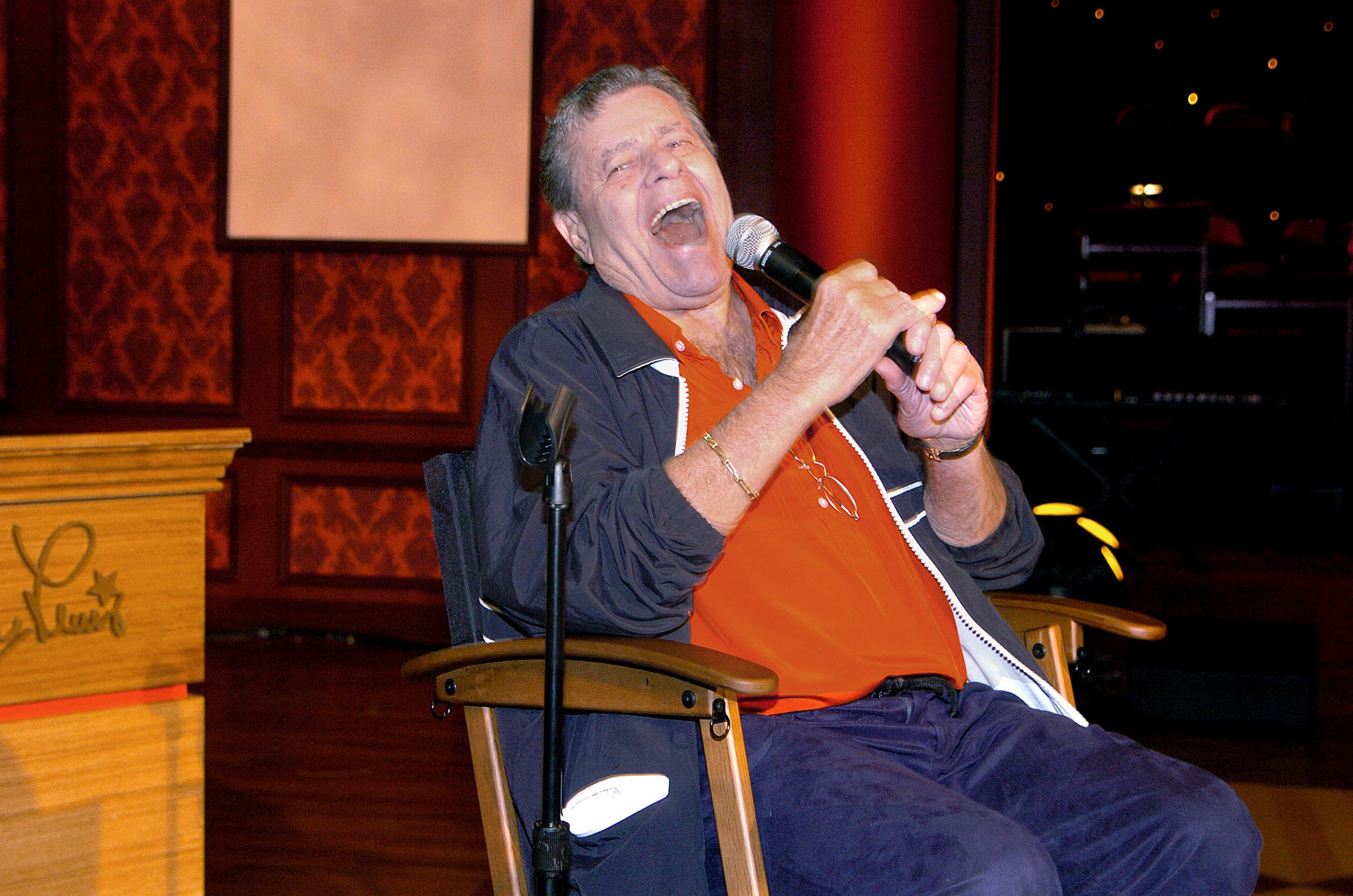 LAS VEGAS-AUGUST 31:Entertainment icon Jerry Lewis enjoys bantering with the media during a press conference for his MDA Telethon at the South Coast Hotel and Casino on August 31, 2006 in Las Vegas, Nevada. Photo by Glenn Pinkerton/Las  Vegas News Bureau