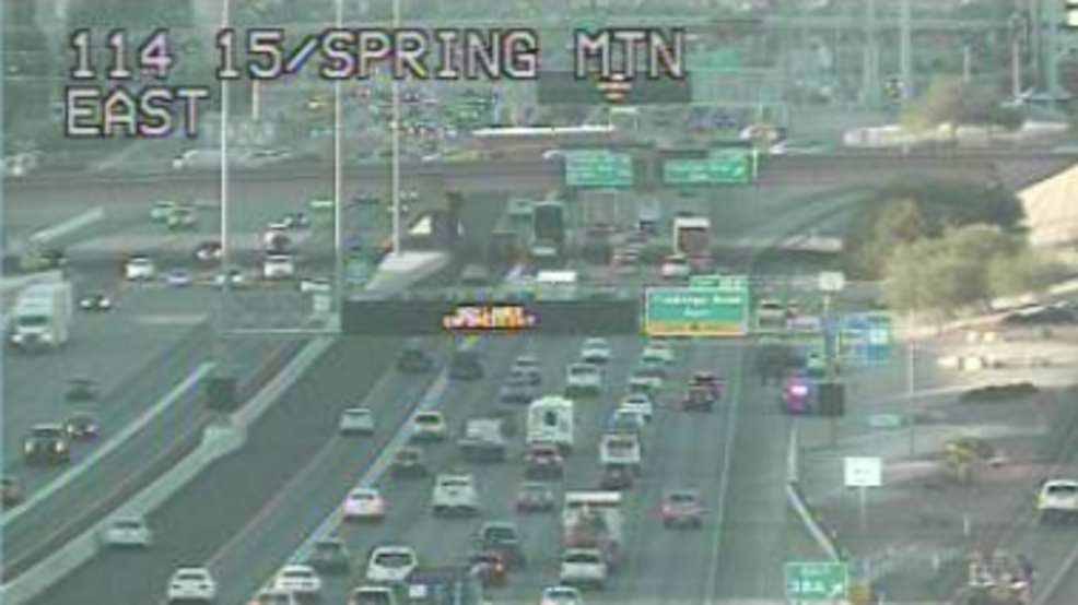 Crashes snarl traffic on southbound I-15 in Las Vegas