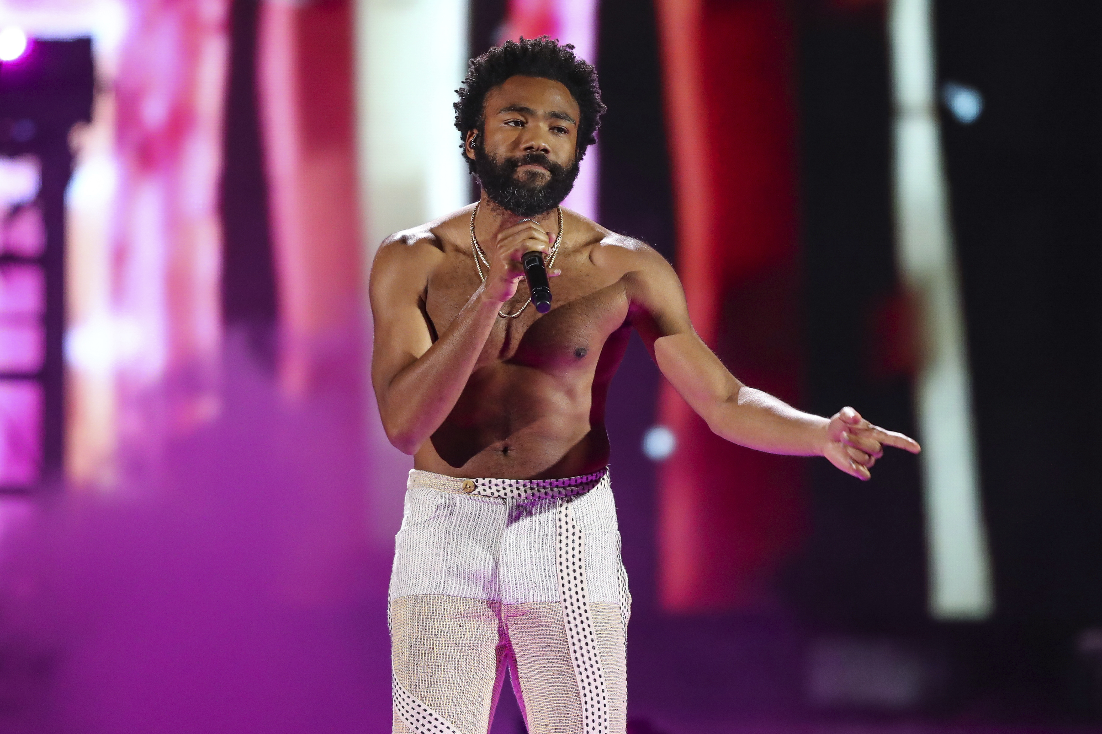 FILE - In this Friday, Sept. 21, 2018 file photo, Childish Gambino performs at the 2018 iHeartRadio Music Festival Day 1 held at T-Mobile Arena in Las Vegas. (Photo by John Salangsang/Invision/AP, File)