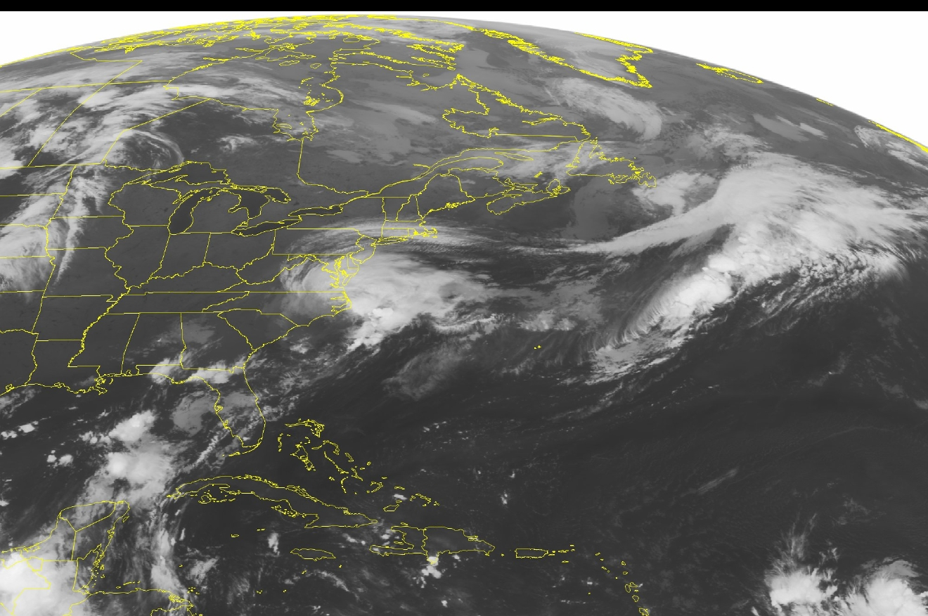 This NOAA satellite image taken Saturday, Sept. 3, 2016 at 12:45 AM EDT shows Tropical Storm Hermine over coastal Carolina and Virginia. Hermine is moving northeast at 22 miles per hour towards the eastern Mid Atlantic and will bring heavy rain and high surf to much of New Jersey, Delaware, Maryland and Virginia. A stationary front over the Gulf coast promotes the development of showers and thunderstorms over the Florida Panhandle. High pressure brings mostly sunny skies across the Ohio valley and Great Lakes. (Weather Underground via AP)