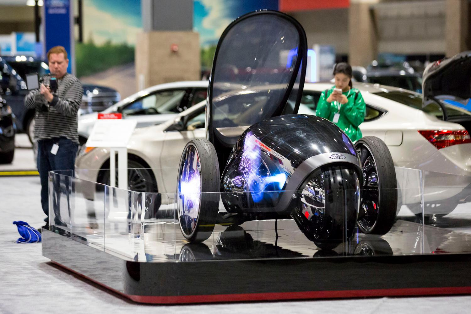 Toyota's 2018 FV2 concept vehicle has a fully customizable LCD surface and is drivable while standing, at the Seattle International Auto Show at the CenturyLink Event Center. (Sy Bean / Seattle Refined)