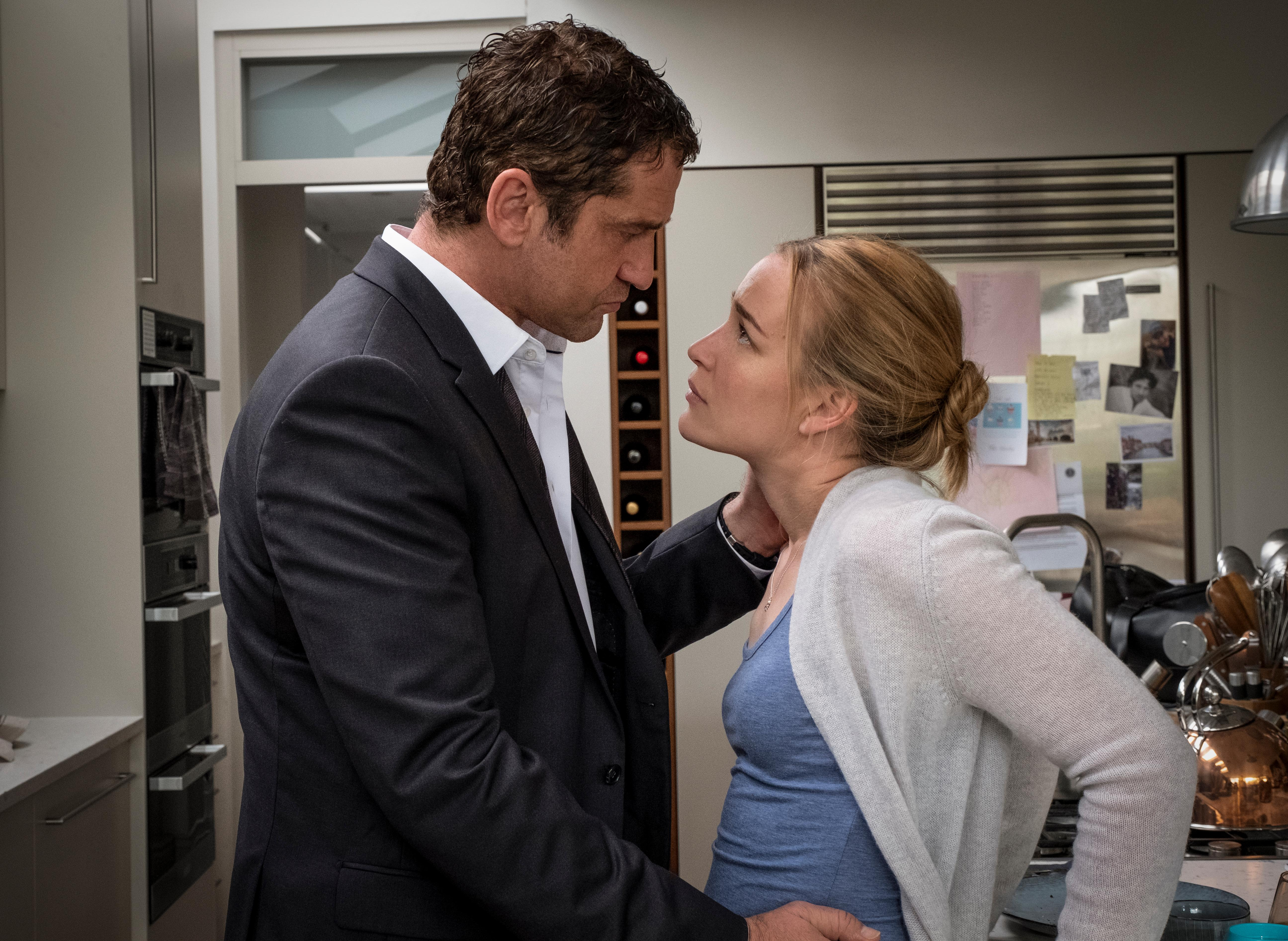 Gerard Butler 'Mike Banning' and Piper Parabo as 'Leah Banning' in ANGEL HAS FALLEN. (Photo Credit: Jack English)