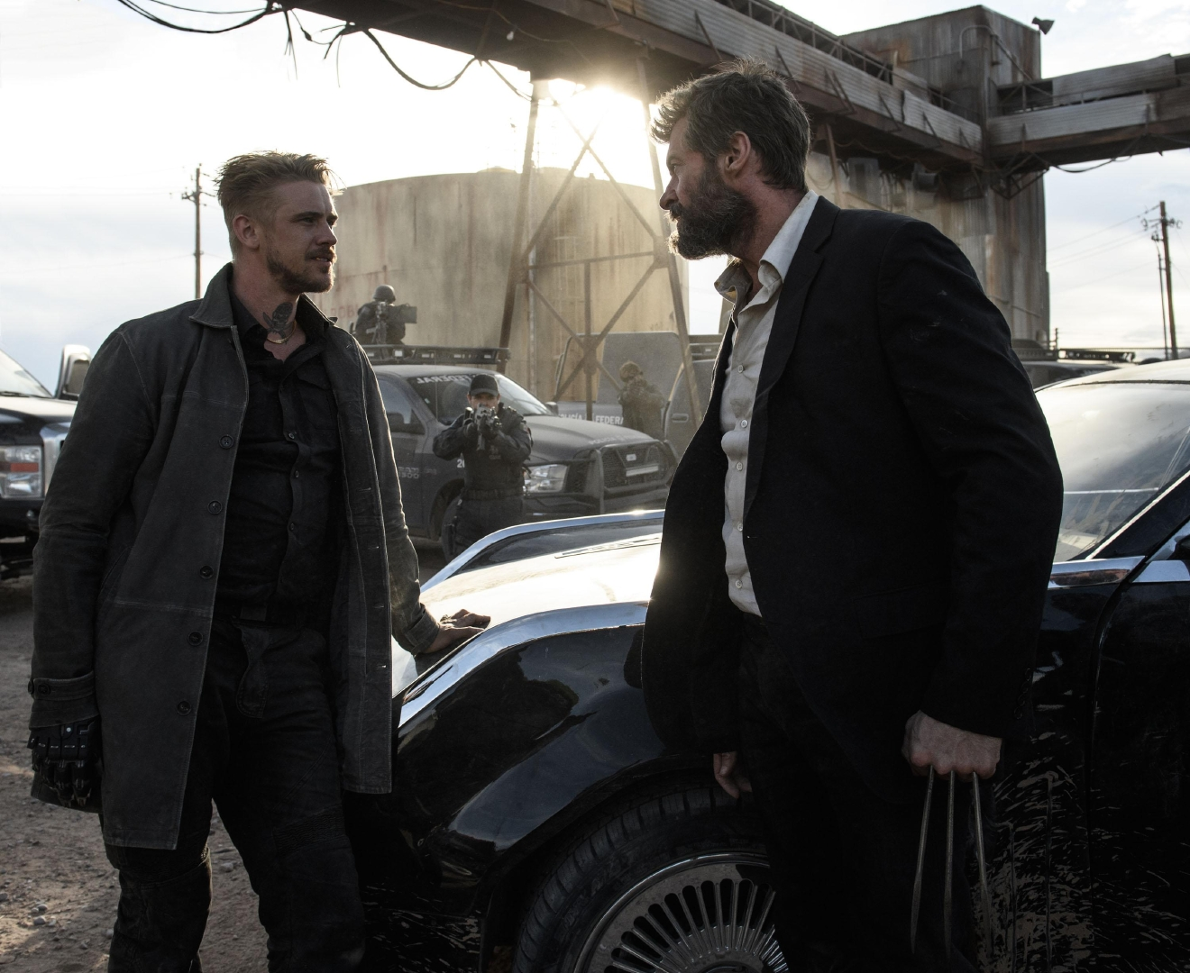 Pierce (Boyd Holbrook) and Logan (Hugh Jackman) face off. Photo Credit: Ben Rothstein.