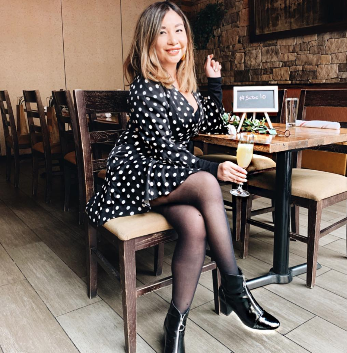 If you can't wait to bust out your spring dresses, you can keep it weather appropriate with tights and uber cute boots too. (Image via @spicycandydc)