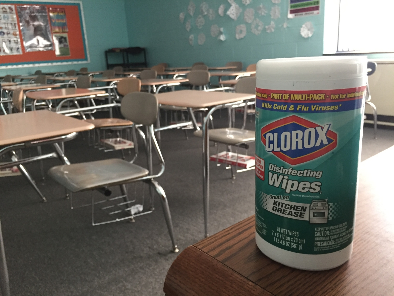 In an effort to keep the flu from spreading, Robbinsville High officials have taken precautions like wiping down the desks in between classes. (Photo credit: WLOS staff)