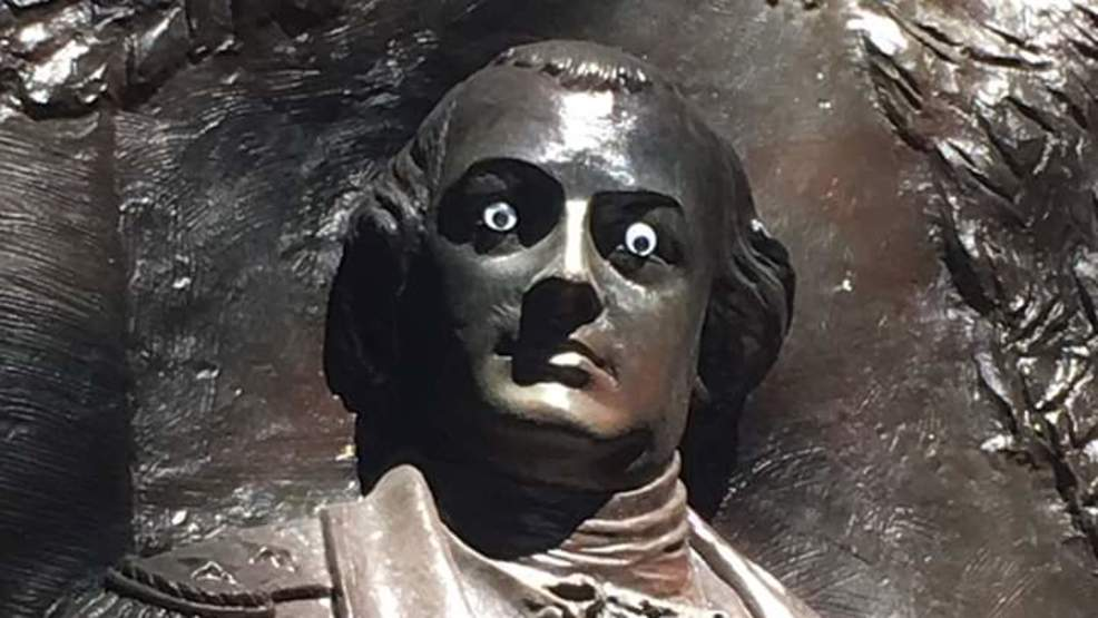 Googly eyes spied on Savannah statue, city leaders don't see humor