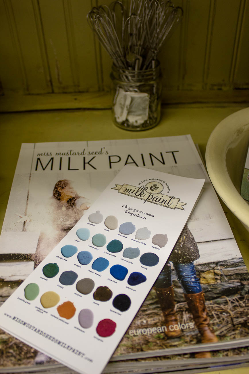Fusion Mineral Paint and Miss Mustard Seed's Milk Paint are the brands carried in the store that are also available for purchase. Painting supplies, stencils, molds, and IODs are also sold in the shop for people working on projects at home. / Image: Katie Robinson, Cincinnati Refined // Published: 6.8.19