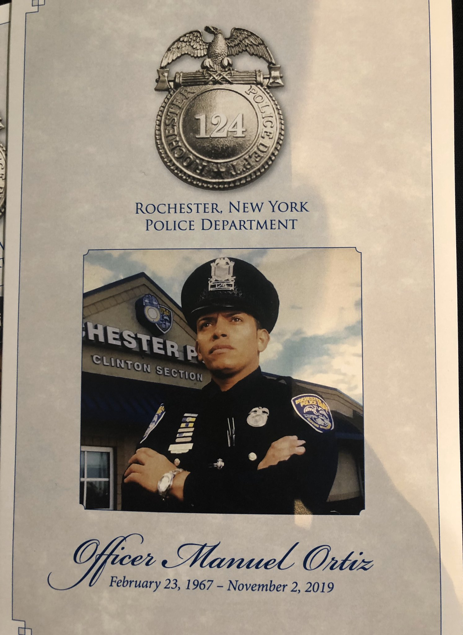 The program for the memorial service for Rochester Police Officer Manuel 'Manny' Ortiz. The ceremony was held at the Joseph A. Floreano Rochester Riverside Convention Center on Friday, November 8, 2019. (WHAM photo)