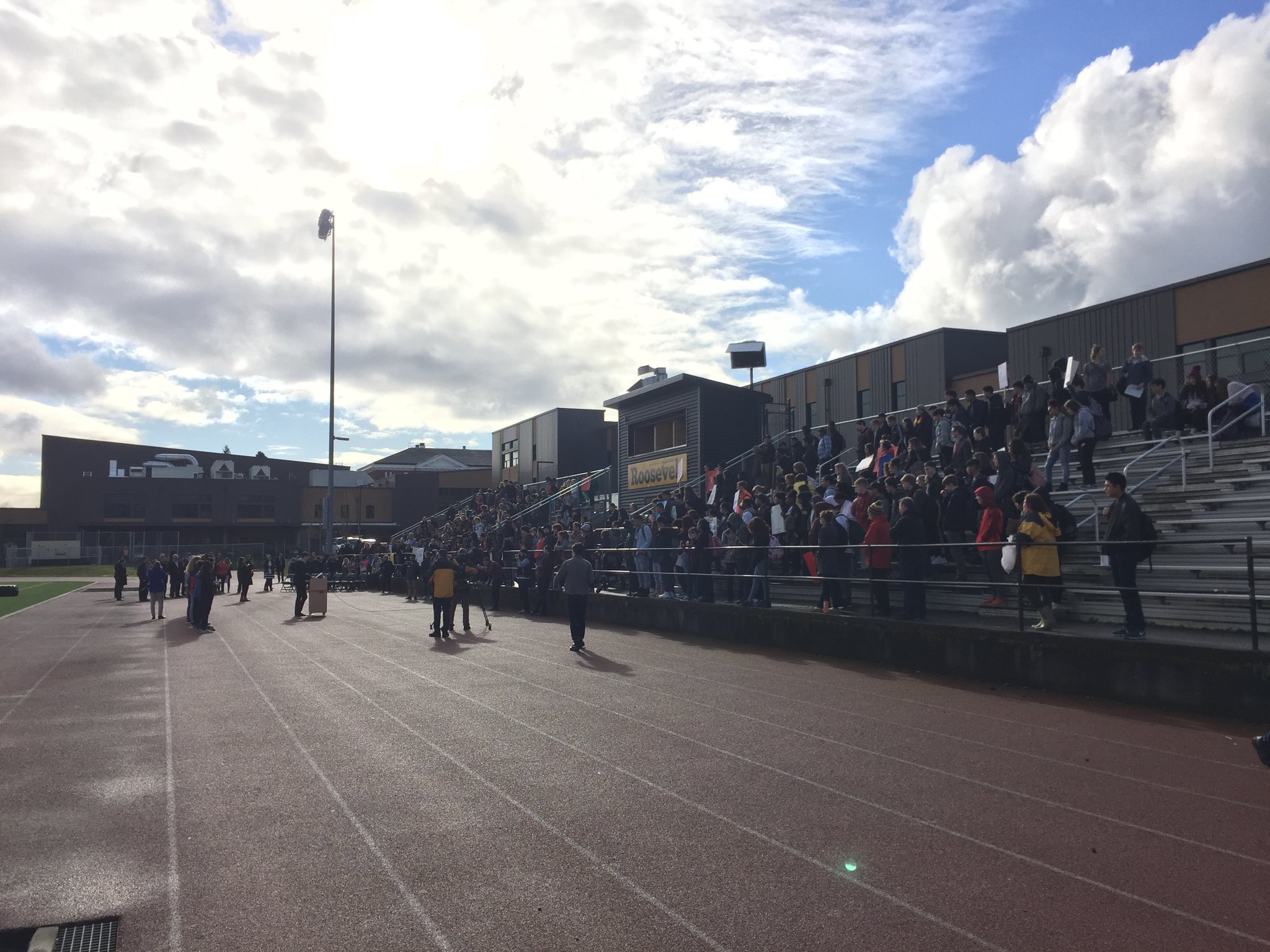 Roosevelt High School is participating in a nationwide walkout to protest gun violence on March 14, 2018. KATU photo
