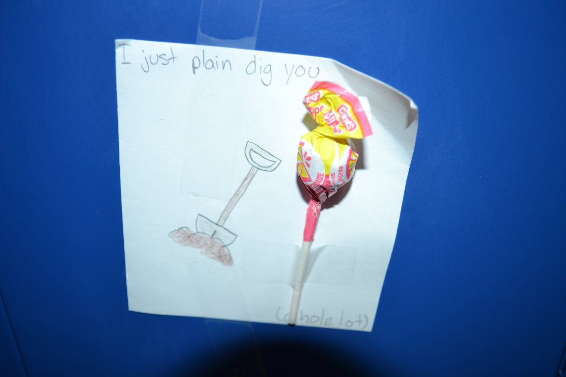 Valentines put on lockers in Franklin Middle School. (photo courtesy Franklin Middle School)<p></p>