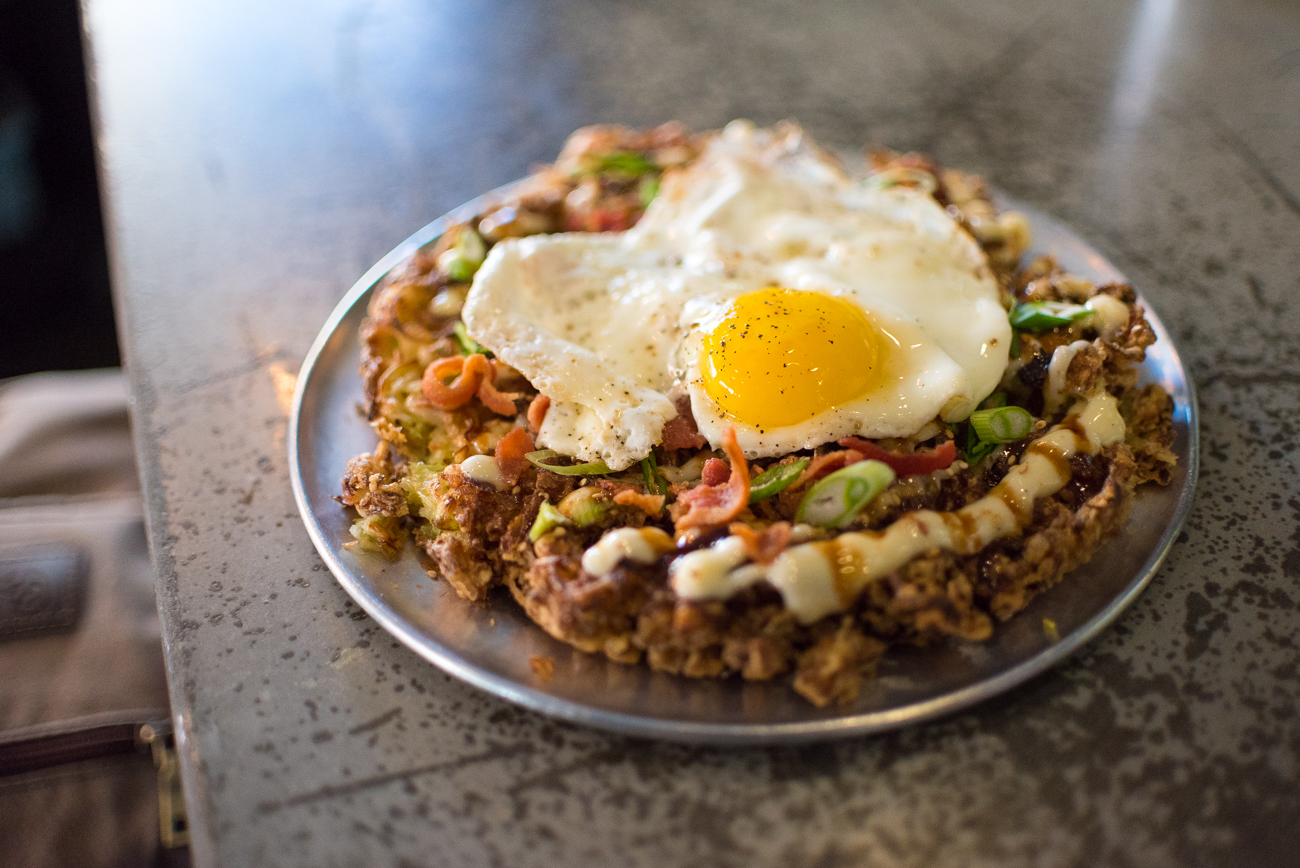 House Okonomiyaki: Japanese mayo, tonkatsu, bacon, green onion, and a fried egg / Image: Phil Armstrong, Cincinnati Refined // Published: 1.10.17