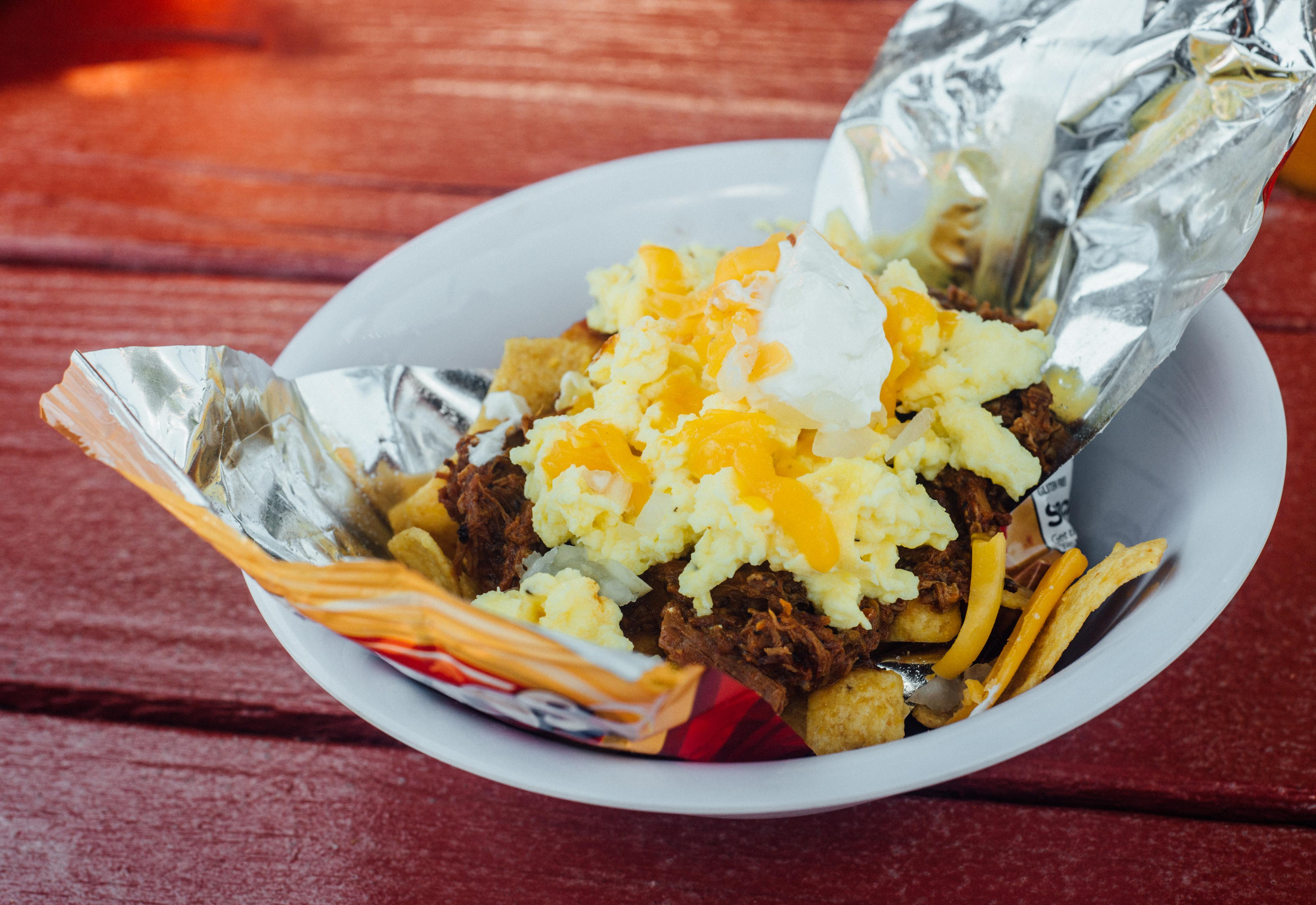 Jack's BBQ's Frito Pie with Eggs; one of their brunch offerings. Gluten-free, to boot. (Image: Audrey Kelly)