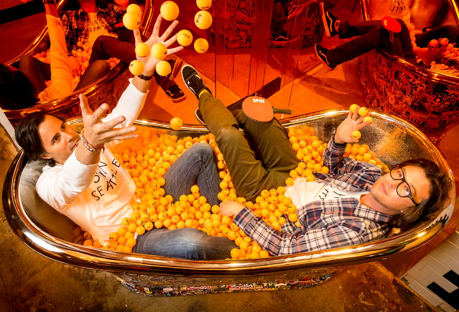 D.C.'s ping pong tub wasn't ready when we visited Spin, so we had to steal this pic from our friends at Seattle Refined, but this only builds our intrigue! When asked why a tub filled with ping pong balls, we were simply told, why not??{ }Image: Sy Bean / Seattle Refined)