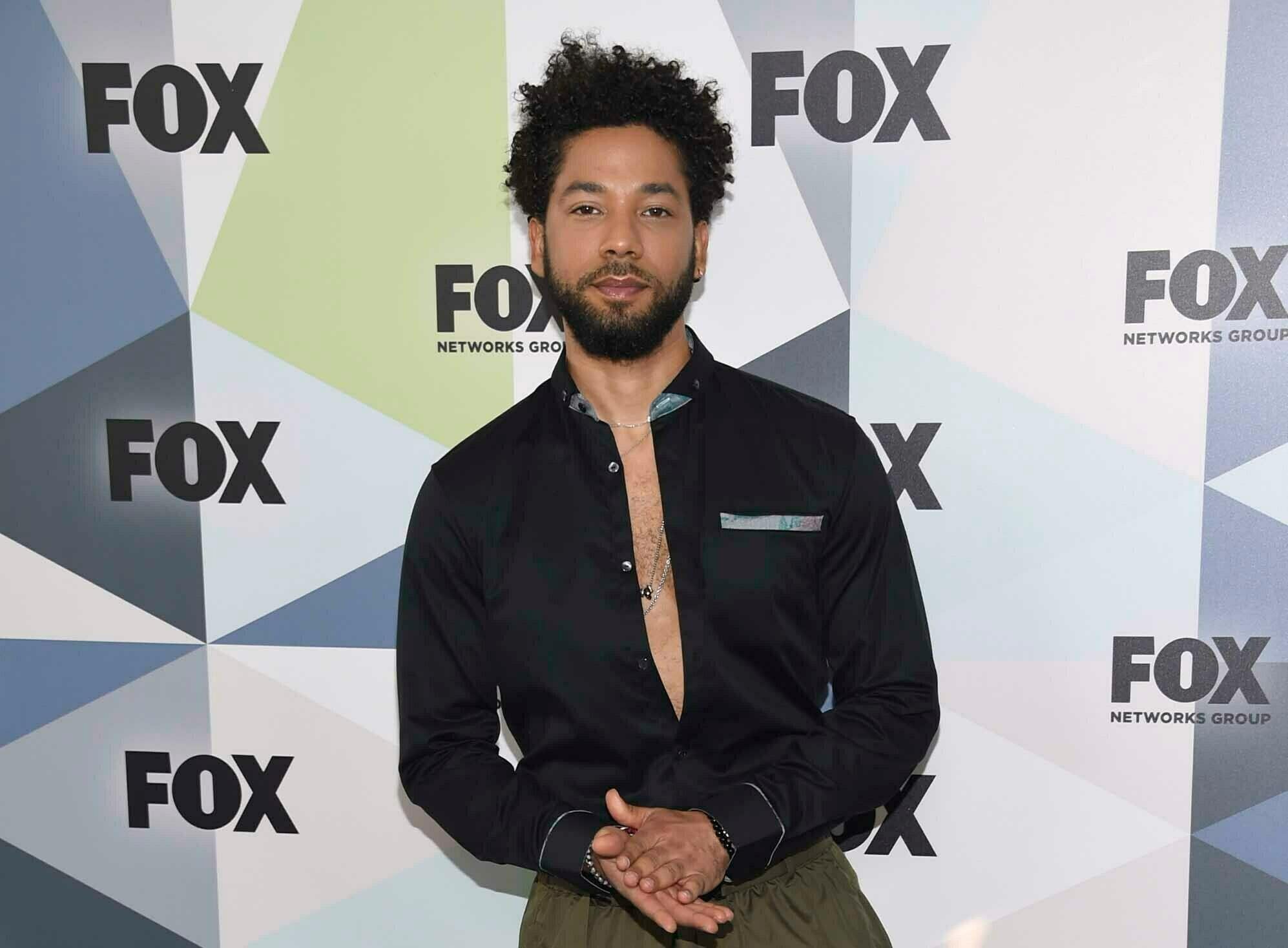 "FILE - In this May 14, 2018 file photo, Jussie Smollett, a cast member in the TV series ""Empire,"" attends the Fox Networks Group 2018 programming presentation afterparty in New York. Smollett is expressing anger over being attacked outside his Chicago apartment last month. Smollett, who plays a musician on the Fox Network's ''Empire'' talked about his ordeal during an interview with ABC News' Robin Roberts to be broadcast Thursday on ""Good Morning America."" He alleges he was the victim of an attack on Jan. 29 by two masked men who shouted racial and homophobic slurs at him. (Photo by Evan Agostini/Invision/AP, File)"