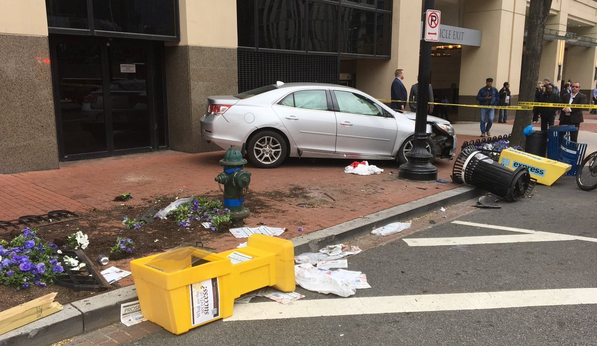 Police say as many as four people were hit by a vehicle in D.C. after a two-car collision.{ } Tuesday, April 24, 2018 (DC Fire and EMS){ }